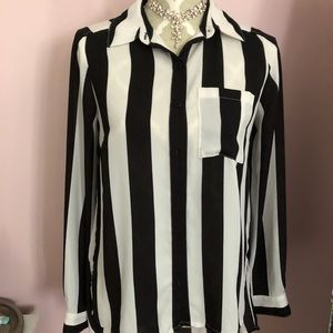 Stripe button up blouse with back detail